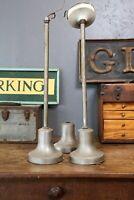 Vintage lot of 2 Stainless Steel Ceiling Fixture Globe Light Mounts Industrial