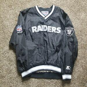 Oakland Raiders Starter Jacket Vtg 90s Pro Line Pullover Windbreaker XL Mint