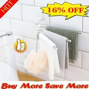 Wall Mounted Bathrooms Towel Racks Steel Rotatable Swivel Hanger Shelf