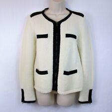 Ann Taylor M Cardigan Cream Black Trim Full Zip Zipper Cuffs Career Wool Blend