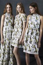 £3,228.61  ERDEM RUNAWAY 3D Floral Applique DRESS SIZE UK 8 US 4 IT 40