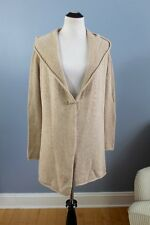 VINCE Sz XS Beige Yak Wool Hooded Cardigan Sweater Sweatercoat +Pin