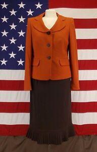 Jones Wear Suit Jacket and Skirt Burn Orange and Brown Skirt Sz 6  Jacket Sz 6