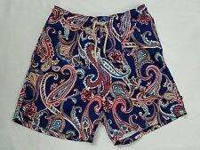 Nautica Sea Voyage Paisley Preppy Swim Shorts Trunks Blue Pink Mens Large EUC