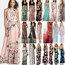 Women Boho Floral Long Maxi Dress Cocktail Party Holiday Summer Beach Sundress L