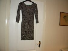 LADIES TOP SHOP BLACK GLITTER NYLON/ELASTANE, 3/4 SLEEVE DRESS, SIZE 8
