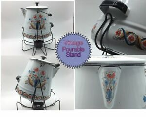 MCM PA Dutch Enamelware 6 Qt Campfire Coffee Pot With Stand and Warmer Holder