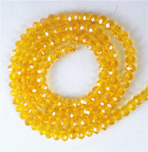 1 Strand 4x3mm Yellow Crystal Glass Faceted Wheel Spacer Beads 15.5inch BB4675>
