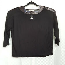Ladies NEXT Blouse Top Plus Size 18 Black Sheer Shoulders Casual 3/4 Sleeve