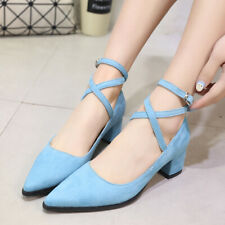 Women's Pointed Toe Cross Ankle Strap Square Mid Heel Work Dress Pumps Shoes