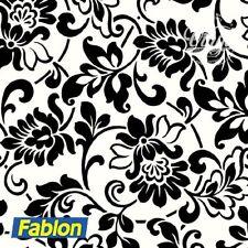 Damask Black & White Floral Sticky Vinyl Fablon (FAB10247) 45cm x 2m