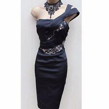 Exquisite Karen Millen Noir Bijou Art Deco une épaule en satin robe de cocktail 6