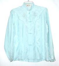 Vintage DAFAGUI Hand Embroidered Pale Blue Silk Blouse Sz 34 Hangzhou China NOS