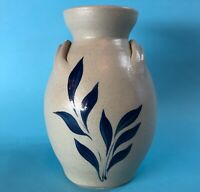 Hand Crafted Colonial Williamsburg Pottery Vase Hand Painted Blue Cobalt