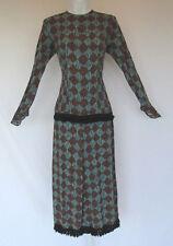 VINTAGE 1960s MOD BREVI-TWEEN BY BIAGIO DRESS BLUE BROWN BLACK FRINGE POLY BLEND