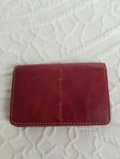 Franklin Covey Leather Credit Business Card Case Burgundy Wine Color Preowned