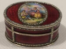 Antique Italian 900 Silver Guillioche Enamel Hand Painted Snuff Box
