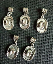5PCS Antique Silver Cowboy/Cowgirl Hat Dangle CHARMS Beads - METAL ALLOY