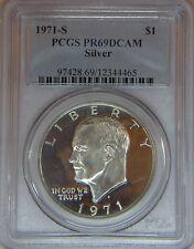 1971-S Eisenhower SILVER dollar PCGS PR69DCAM proof deep cameo