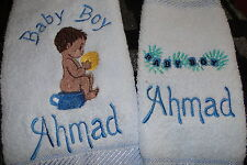 personalised hand towel and face washer gift set CUTE BABY add a name for FREE