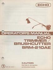 "ECHO TRIMMER/ BRUSHCUTTER OPERATOR""S MANUAL SRM-210AE P/N 898 561-2423 1(533)"