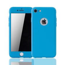 Apple iPhone 8 Hülle Case Handy Cover Schutz Tasche Bumper Panzerfolie 9H Blau