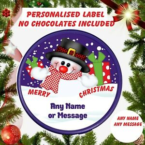 Snowman Christmas Chocolate* LABEL ONLY * Fits Heroes  Personalised ANY MESSAGE