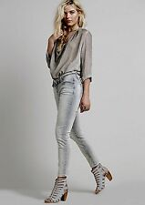NEW Free People gray distressed Corduroy Cropped Roller Skinny Jeans Pants 30