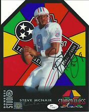 STEVE MCNAIR Signed Autograph 8x10 Donruss Stained Glass Stars Card 635/1000 JSA