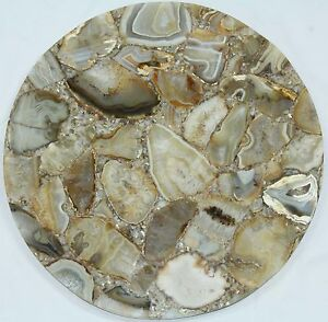 Handmade Semi precious Yellow Agate stone Round coffee Only table top Home Decor