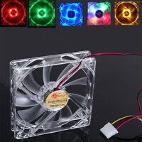 4 Pin 120mm PC Computer Clear Case CPU Cooling Fan 12cm Quad 4-LED Light 9-Blade