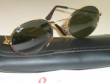 VINTAGE B&L RAY BAN G15 GOLD/TORT COATED WIRE OVAL AVIATOR SUNGLASSES w/CASE NEW