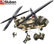 Sluban B0508 Military Soldier Army Building Bricks Toy Chinook Helicopter & Jeep