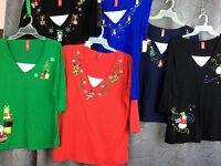 Christmas woman Plus cotton shirt 1X, 2X or 3X Just my Size Red blue or black