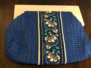 Vera Bradley Clutch Purse White Wood Handle Crochet Floral Blue Boho Rare Bag