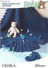 Knitting Pattern Baby Items Shawl Matinee Coat Shoes Wool 35-46 cm 14-28 inch