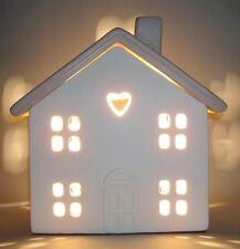 Cream Ceramic House Heart Window Table Side Lamp Nursery Kitsch NEW Home Gift