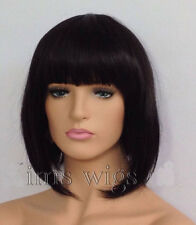 HELLOJF205  vogue short dark Brown straight Cosplay Wig wigs for modern women