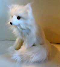 "Long Haired White Artic Fox Pup Sitting Figure New Hand Made 10"" $50 Ships Free"