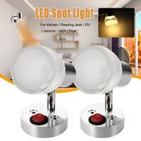 2x 12V LED Spot Reading Light Switch Boat Bedside Motorhome Caravan Warm White