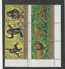 Guinea, Postage Stamp, #C140, C142 Block Mint NH, 1977 Monkey, Lion