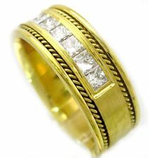 14K YELLOW GOLD PRINCESS CUT DIAMOND MEN'S BAND 8.5MM 1.00CTW BRAIDED POLSIHED