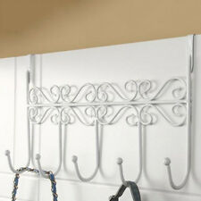 Coat Hanger Clothes Towel Storage Rack Hooks White Over the Door Washroom