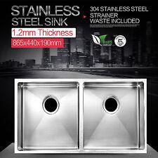 865 x 440 x 190 mm Drop In / Undermount Stainless Steel Kitchen Sink Double Bowl