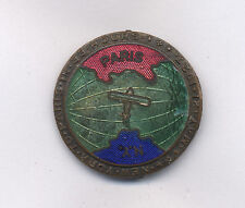 1927 LINDBERG N. Y. TO PARIS FLIGHT AIRPLANE ENAMELED BADGE PIN RARE COLOR COMBO