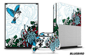 Designer Skin for XBOX ONE S 1S Gaming Console+2 Controller Sticker Decal BLUEBD