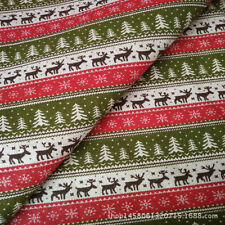 50x150cm Cotton Linen Fabric DIY Craft Material Christmas Tree Deer Red Gree 10F