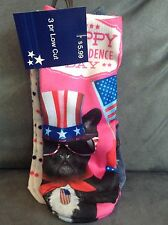 CVS WOMEN'S 3 PAIR LOW CUT SOCKS FITS 9-11 HAPPY INDEPENDENCE DAY DOG, ETC.