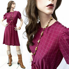 Vintage 80s Sheer Secretary Dress Purple Geometric Button Shoulder S/M