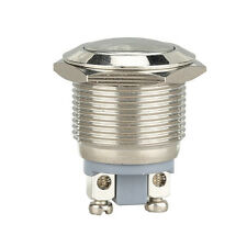 Silver Car Waterproof 19mm 12V Momentary On/Off Metal Cool Push Button Switch